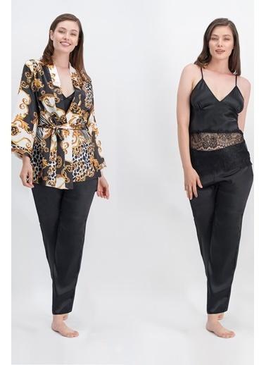 Arnetta Arnetta Avangarde Siyah Kadın Askılı Saten Pijama Takımı, Sabahlık 3'Lü Takım Siyah
